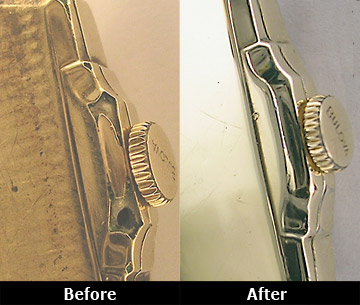Before and After Bulova Antique Watch Case Repair