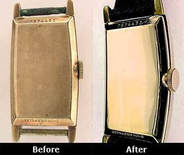 Before and After Vintage Watch Case Repair